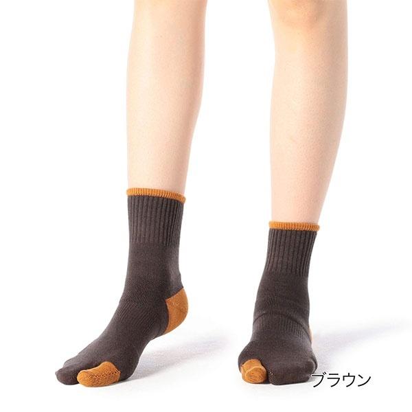 [マルイ] Kanana project 足袋型 パイル地 バイカラー クルー丈ソックス/福助(FUKUSKE)