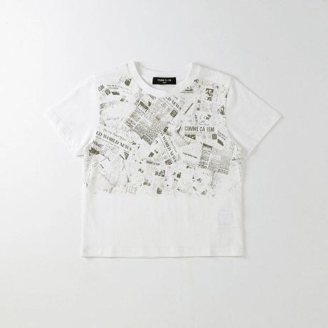 598a70e76b19f コムサイズムキッズのニュースペーパー柄プリントTシャツベーシックなシルエットのプリントTシャツ