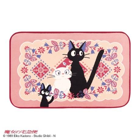 黒猫ジジと白猫のリリーが可愛いふんわりやわらかなマット約5080cm