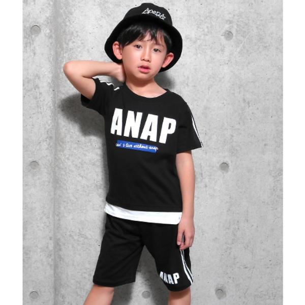 マルイウェブチャネル[マルイ] 切り替え風ラインTシャツ+ラインハーフパンツSET/アナップキッズ&ガール(ANAP KIDS&GIRL)