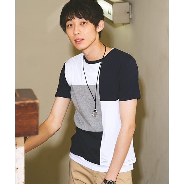 [マルイ]【セール】【3点セット】アクセ付きアンサンブル切替Tシャツ/ウィゴー(メンズ)(WEGO)