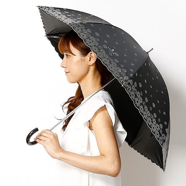 【軽量/雨の日OK/遮光率&UV遮蔽率99%以上/遮熱効果】ラメ花プリントスライドショート日傘