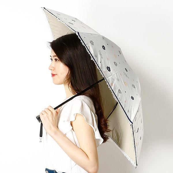 【雨の日OK/遮光率&UV遮蔽率99%以上/遮熱効果】花プリント&フリル3つ折り日傘