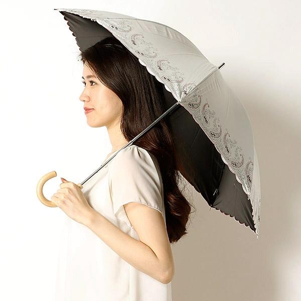 【軽量/雨の日OK/遮光率&UV遮蔽率99%以上/遮熱効果】ペイズリー柄スライドショート日傘