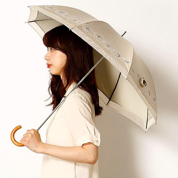 【雨の日OK/遮光率&UV遮蔽率99%以上/遮熱効果】花&オーガンジースライドショート日傘