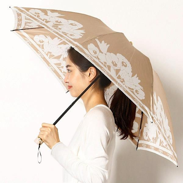 雨傘(3段/折りたたみ/ミニ/楽ー開閉)(レディース)花柄