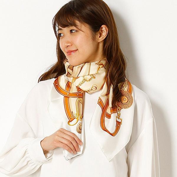 【約88×88cm】シルク100%スカーフ(レディース)日本製