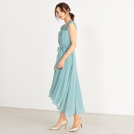タックレースカットドレス
