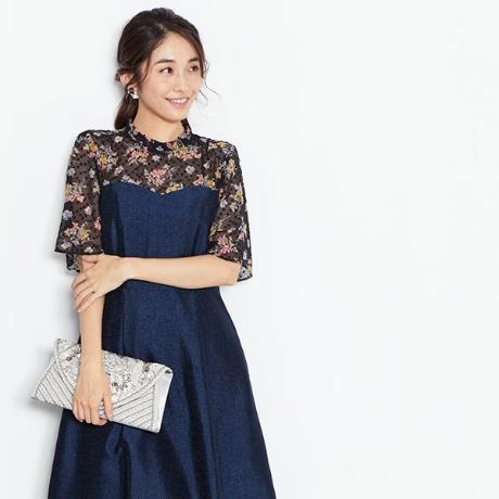 花柄プリントジャガードドレス