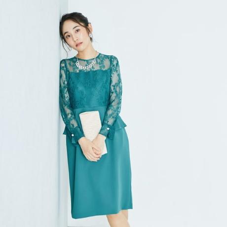 ペプラムレースドレス
