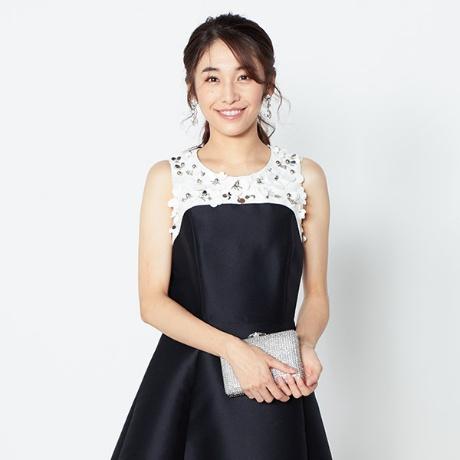 【kate spade】フラワーコサージュ付バイカラードレス