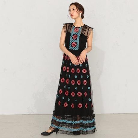 【RED VALENTINO】刺繍ロングドレス