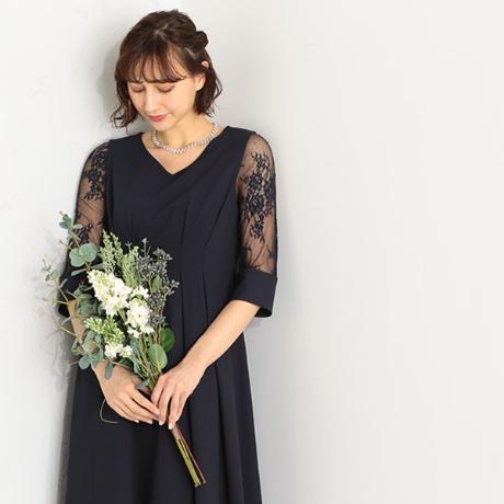 (5サイズ展開)ウエストタック袖レースドレス