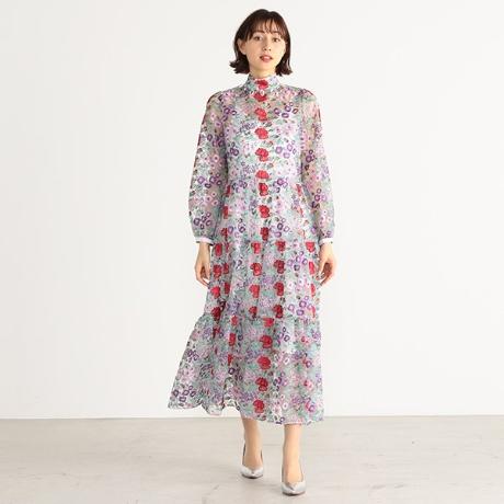 花マルチカラー刺繍スタンドカラー
