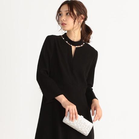 ネックパール長袖ドレス